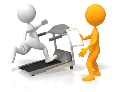 personal trainer with treadmill